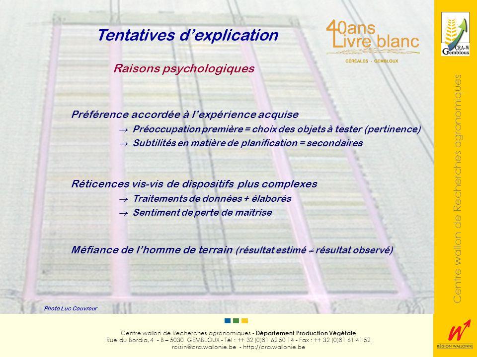 Centre wallon de Recherches agronomiques Photo Luc Couvreur Centre wallon de Recherches agronomiques - Département Production Végétale Rue du Bordia,