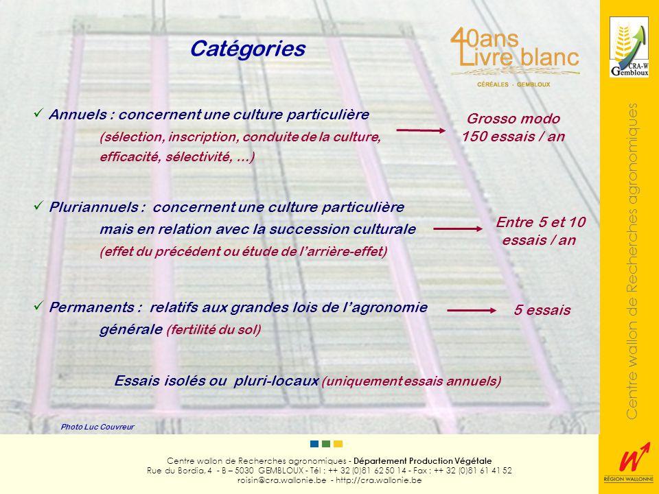 Centre wallon de Recherches agronomiques Photo Luc Couvreur Centre wallon de Recherches agronomiques - Département Production Végétale Rue du Bordia, 4 - B – 5030 GEMBLOUX - Tél : ++ 32 (0)81 62 50 14 - Fax : ++ 32 (0)81 61 41 52 roisin@cra.wallonie.be - http://cra.wallonie.be Classer des objets (essais de sélection) Comparer des objets avec un ou plusieurs témoin(s) (inscription des variétés) Comparer différents objets entre eux (machines, produits, doses, dates, …) Tester des produits (efficacité, sélectivité) Etablir une courbe ou une surface de réponse (fumure azotée) Détecter ou étudier une interaction (essais factoriels) Extrapoler et vulgariser (essais pluri-locaux et de démonstration) Objectifs (Essais annuels et pluriannuels)