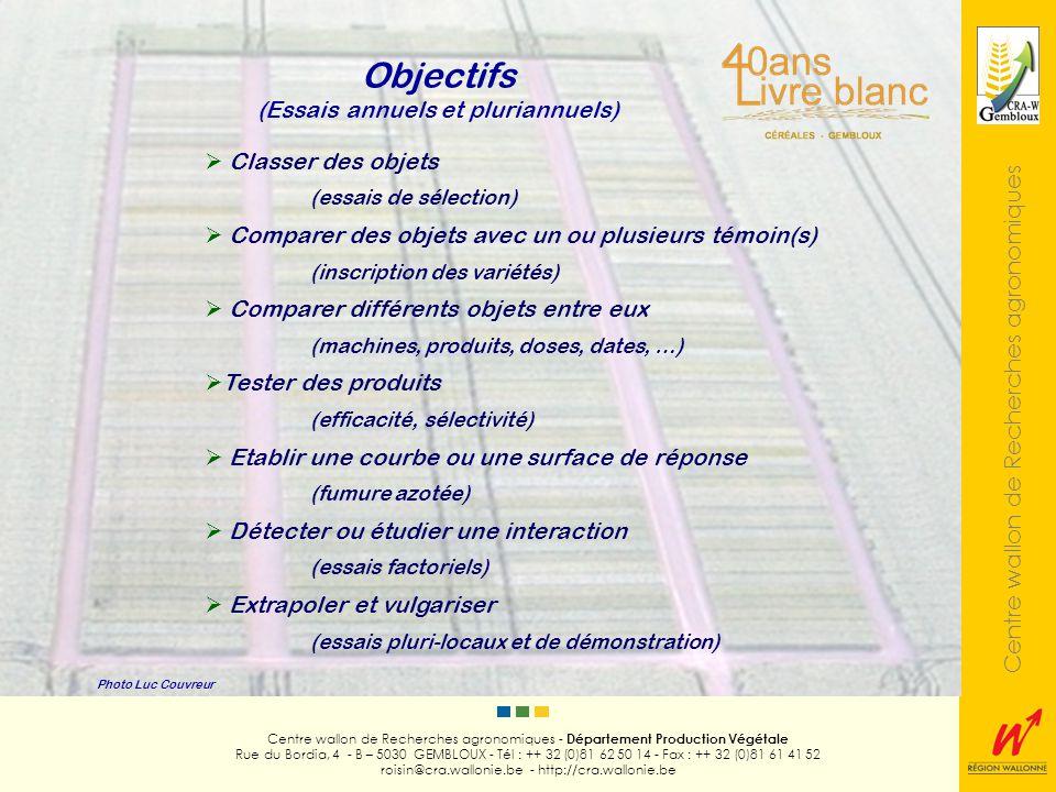 Centre wallon de Recherches agronomiques Photo Luc Couvreur Centre wallon de Recherches agronomiques - Département Production Végétale Rue du Bordia, 4 - B – 5030 GEMBLOUX - Tél : ++ 32 (0)81 62 50 14 - Fax : ++ 32 (0)81 61 41 52 roisin@cra.wallonie.be - http://cra.wallonie.be Analyse des données Calcul des moyennes ANOVA ppds ( = 5 %) Coefficient de variation résiduel Comparaison multiple de moyennes (Test de Newman et Keuls) Comparaison avec un témoin simple ou composite Régression (cas dun facteur quantitatif) Toujours Parfois critère de rejet (inscription des variétés) Peu fréquent Très fréquent Simple seuil (inscription des variétés) De + essais pluri-locaux = rarement regroupés dans une analyse globale en réseau