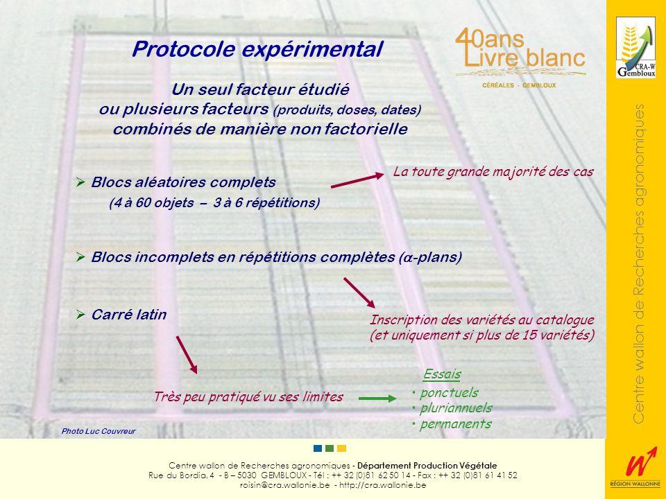 Centre wallon de Recherches agronomiques Photo Luc Couvreur Centre wallon de Recherches agronomiques - Département Production Végétale Rue du Bordia, 4 - B – 5030 GEMBLOUX - Tél : ++ 32 (0)81 62 50 14 - Fax : ++ 32 (0)81 61 41 52 roisin@cra.wallonie.be - http://cra.wallonie.be Split-plot Factoriels sans hiérarchisation Carré latin « split-plotté» Split-split-plot Lattices, confoudings 2 ou plus de 2 facteurs combinés de manière factorielle Largement le plus pratiqué Cas particuliers Protocole expérimental Pour mémoire Essais ponctuels pluriannuels permanents
