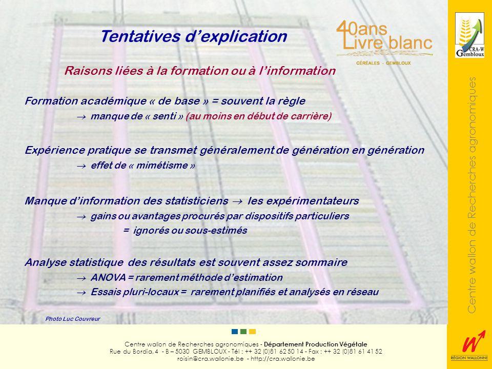 Centre wallon de Recherches agronomiques Photo Luc Couvreur Centre wallon de Recherches agronomiques - Département Production Végétale Rue du Bordia, 4 - B – 5030 GEMBLOUX - Tél : ++ 32 (0)81 62 50 14 - Fax : ++ 32 (0)81 61 41 52 roisin@cra.wallonie.be - http://cra.wallonie.be Standardisation des procédures augmentation du nombre dessais / équipe Tentatives dexplication Raisons de commodité Utilisation de logiciels de gestion dessais facilité et automatisation (ex.