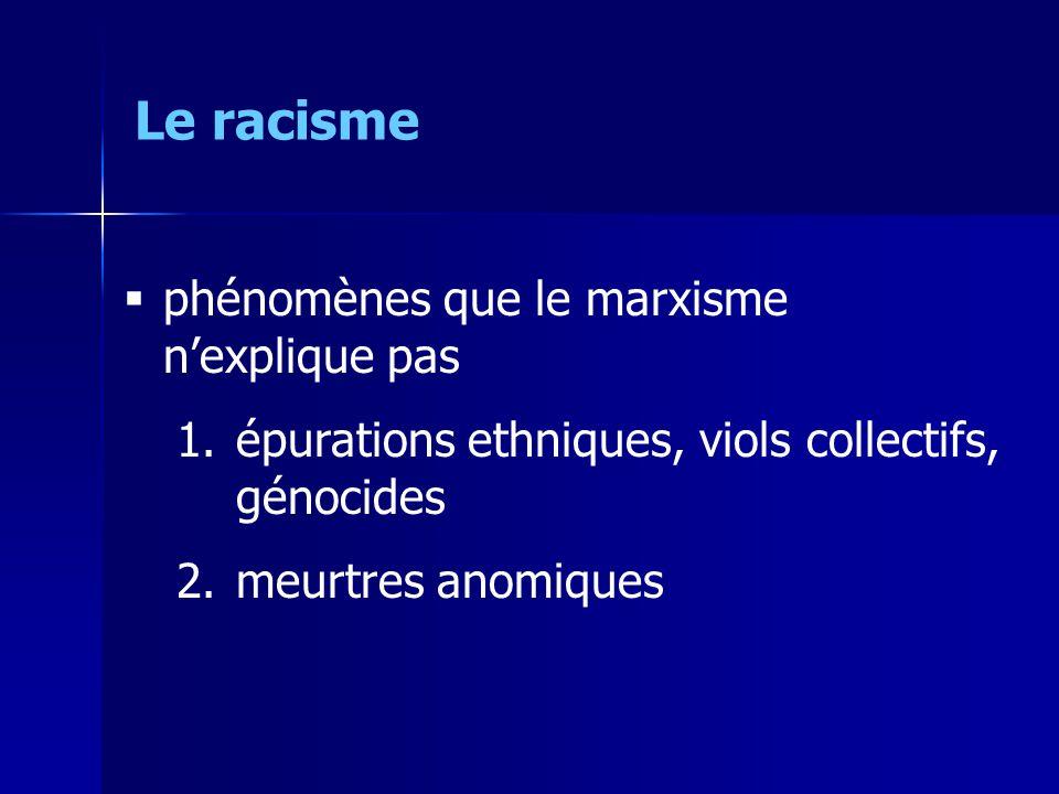 phénomènes que le marxisme nexplique pas 1.épurations ethniques, viols collectifs, génocides 2.meurtres anomiques Le racisme