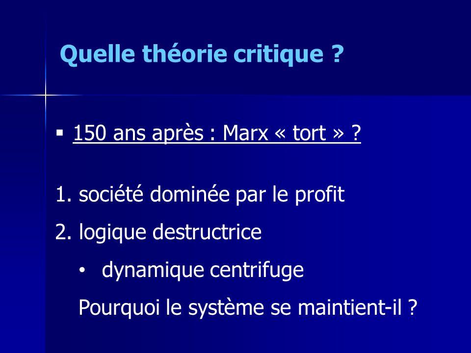 150 ans après : Marx « tort » .1. société dominée par le profit 2.