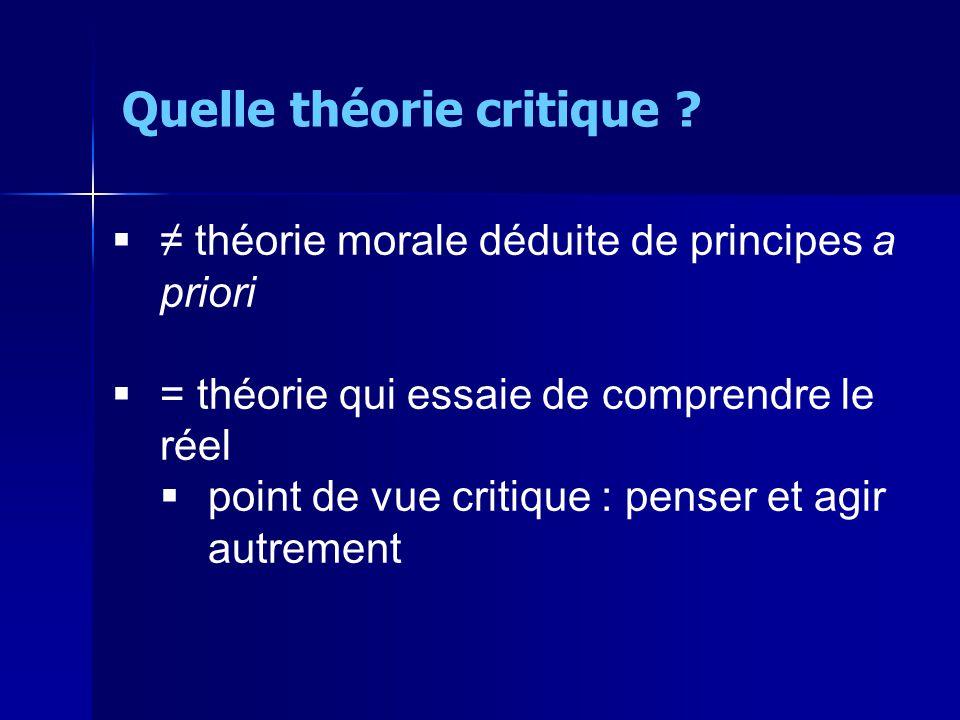 théorie morale déduite de principes a priori = théorie qui essaie de comprendre le réel point de vue critique : penser et agir autrement Quelle théorie critique ?