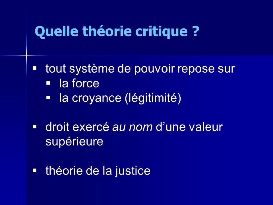 tout système de pouvoir repose sur la force la croyance (légitimité) droit exercé au nom dune valeur supérieure théorie de la justice Quelle théorie critique ?