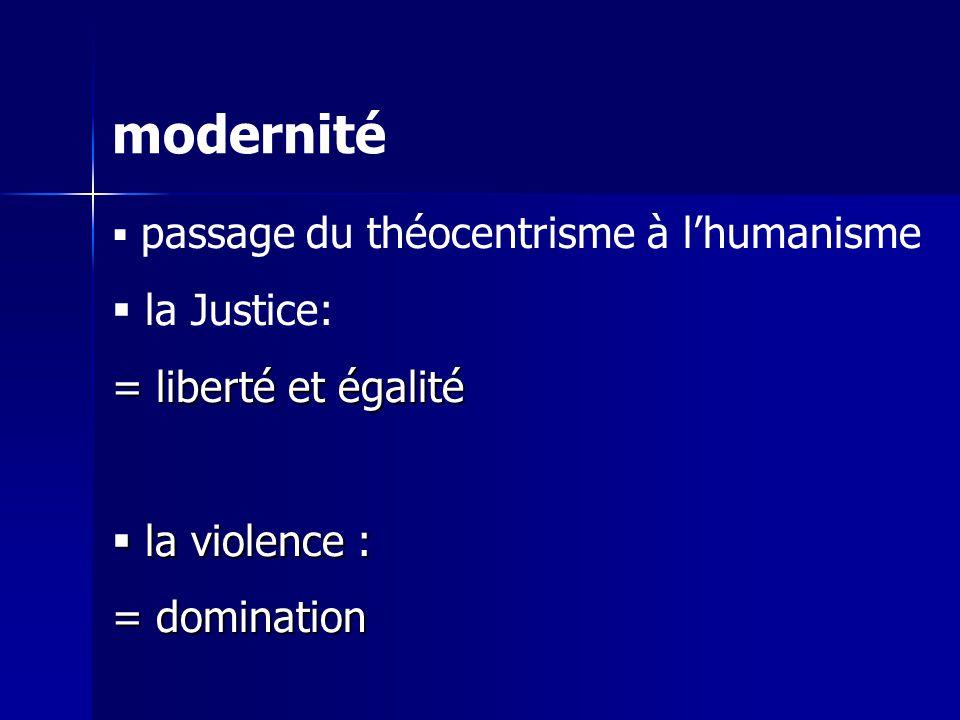 modernité passage du théocentrisme à lhumanisme la Justice: = liberté et égalité la violence : la violence : = domination