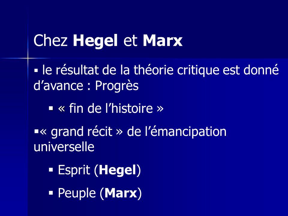 Chez Hegel et Marx le résultat de la théorie critique est donné davance : Progrès « « fin de lhistoire » « grand récit » de lémancipation universelle Esprit (Hegel) Peuple (Marx)
