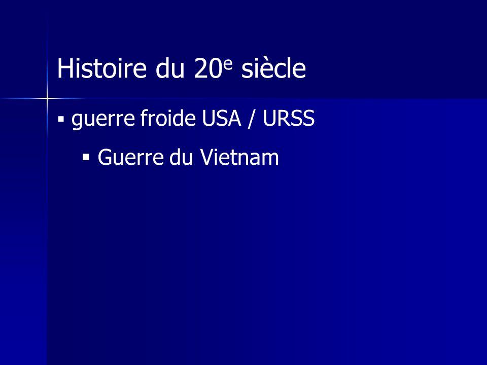Histoire du 20 e siècle guerre froide USA / URSS Guerre du Vietnam