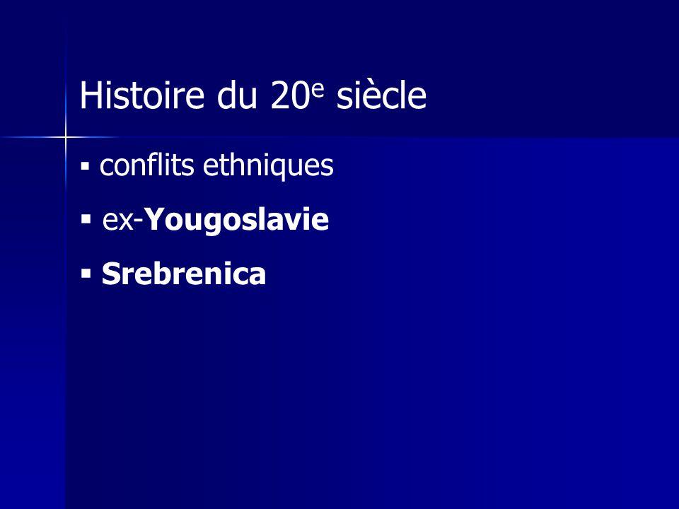 Histoire du 20 e siècle conflits ethniques ex-Yougoslavie Srebrenica