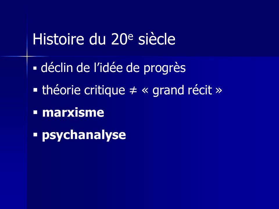 Histoire du 20 e siècle déclin de lidée de progrès théorie critique « grand récit » marxisme psychanalyse