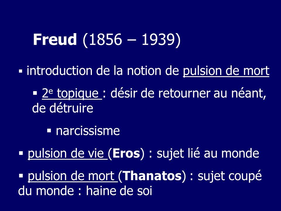 Freud (1856 – 1939) introduction de la notion de pulsion de mort 2 e topique : désir de retourner au néant, de détruire narcissisme pulsion de vie (Eros) : sujet lié au monde pulsion de mort (Thanatos) : sujet coupé du monde : haine de soi