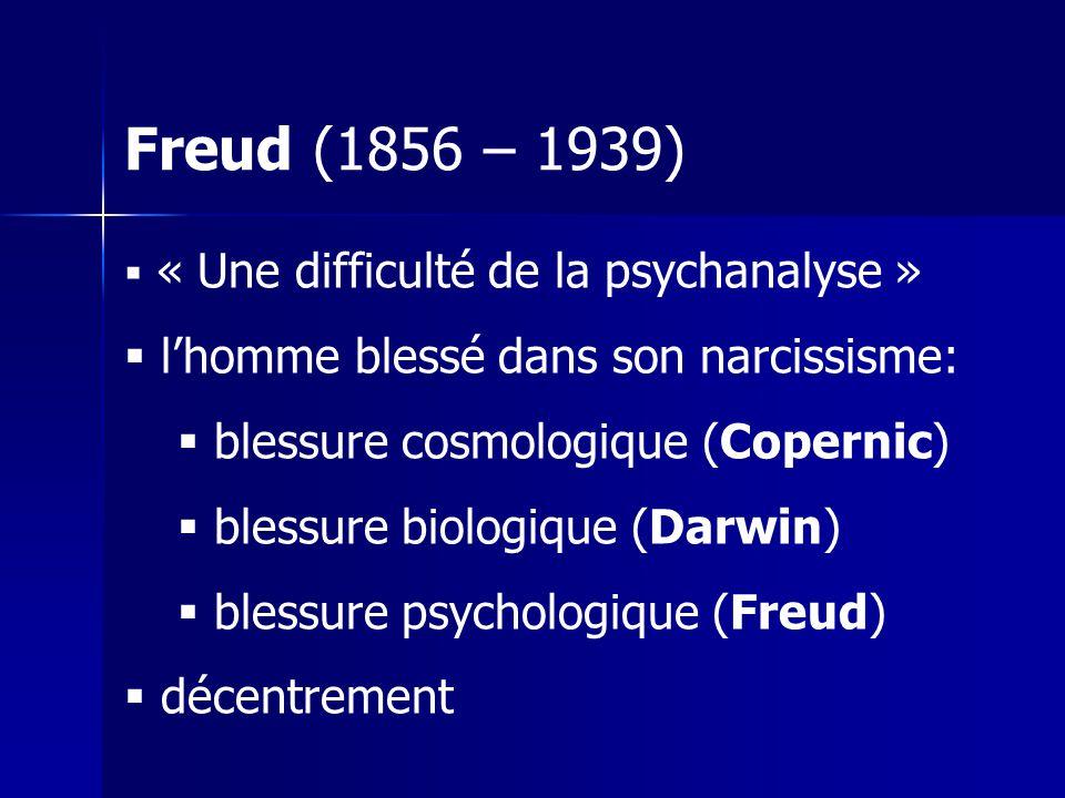Freud (1856 – 1939) « Une difficulté de la psychanalyse » lhomme blessé dans son narcissisme: blessure cosmologique (Copernic) blessure biologique (Darwin) blessure psychologique (Freud) décentrement