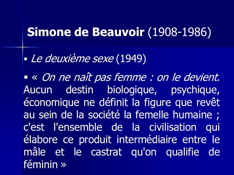 Simone de Beauvoir (1908-1986) Le deuxième sexe (1949) « On ne naît pas femme : on le devient.