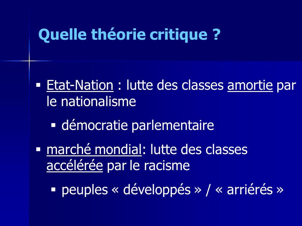 Etat-Nation : lutte des classes amortie par le nationalisme démocratie parlementaire marché mondial: lutte des classes accélérée par le racisme peuples « développés » / « arriérés » Quelle théorie critique ?