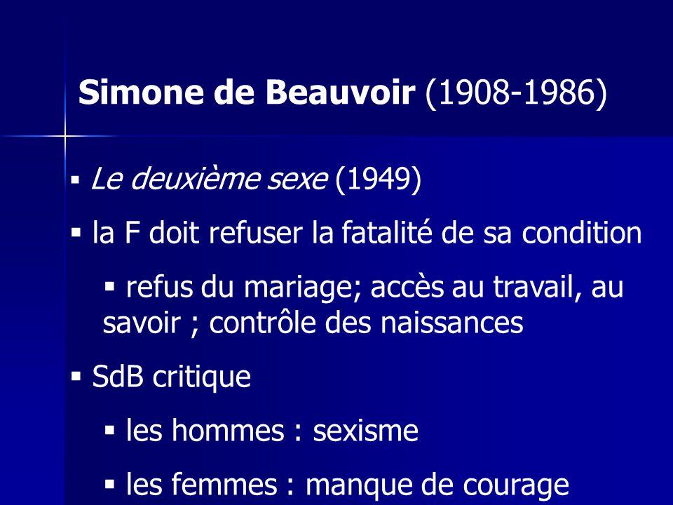 Simone de Beauvoir (1908-1986) Le deuxième sexe (1949) la F doit refuser la fatalité de sa condition refus du mariage; accès au travail, au savoir ; contrôle des naissances SdB critique les hommes : sexisme les femmes : manque de courage