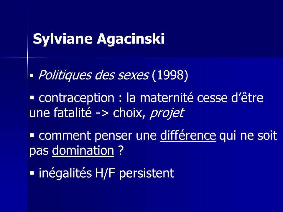 Sylviane Agacinski Politiques des sexes (1998) contraception : la maternité cesse dêtre une fatalité -> choix, projet comment penser une différence qui ne soit pas domination .