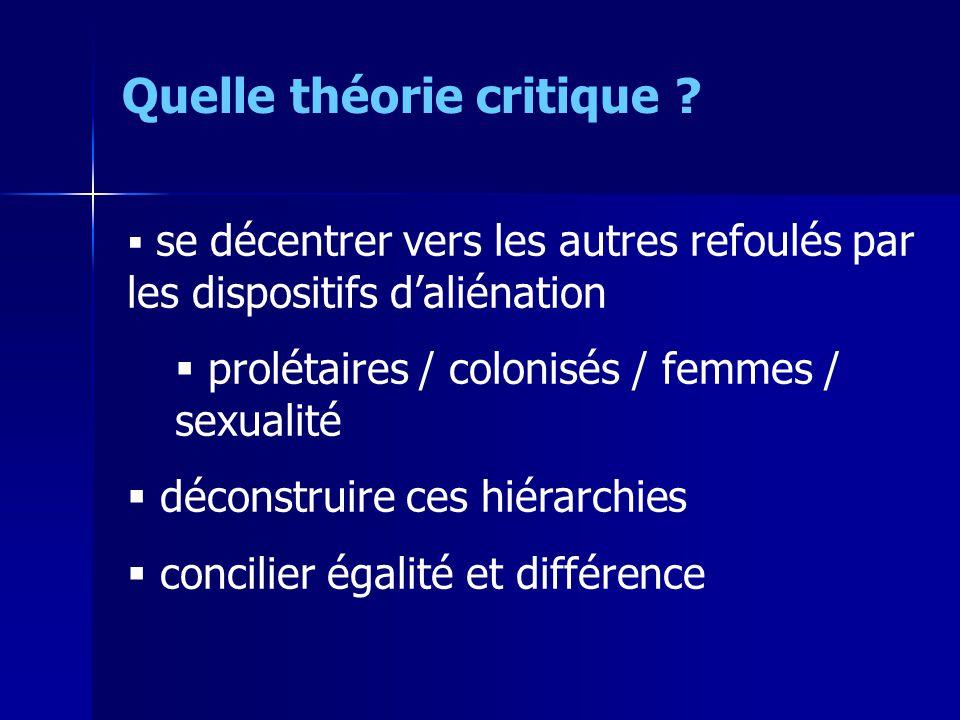 se décentrer vers les autres refoulés par les dispositifs daliénation prolétaires / colonisés / femmes / sexualité déconstruire ces hiérarchies concilier égalité et différence Quelle théorie critique ?