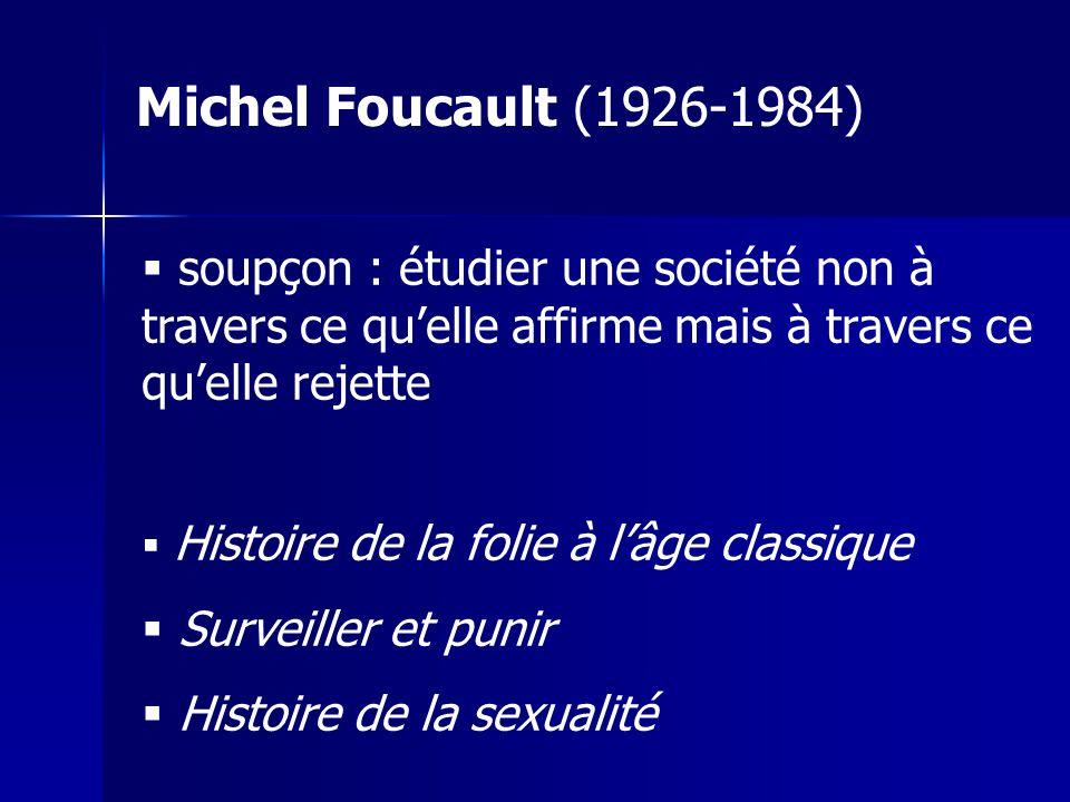 soupçon : étudier une société non à travers ce quelle affirme mais à travers ce quelle rejette Histoire de la folie à lâge classique Surveiller et punir Histoire de la sexualité Michel Foucault (1926-1984)