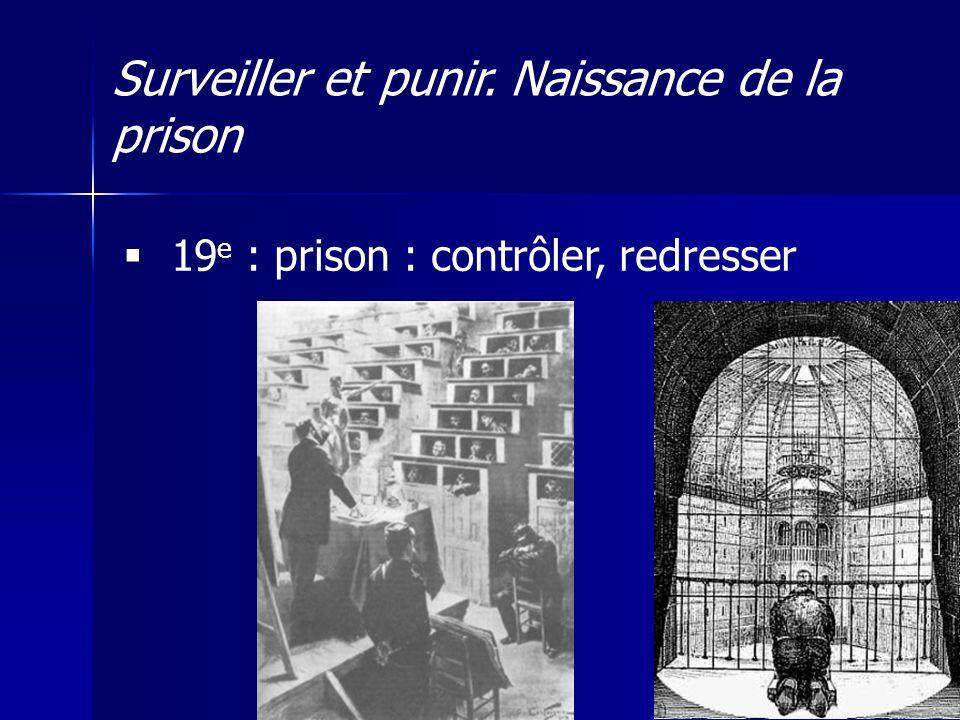 Surveiller et punir. Naissance de la prison 19 e : prison : contrôler, redresser