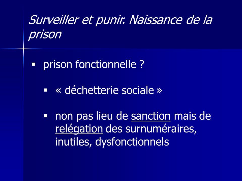 Surveiller et punir.Naissance de la prison prison fonctionnelle .