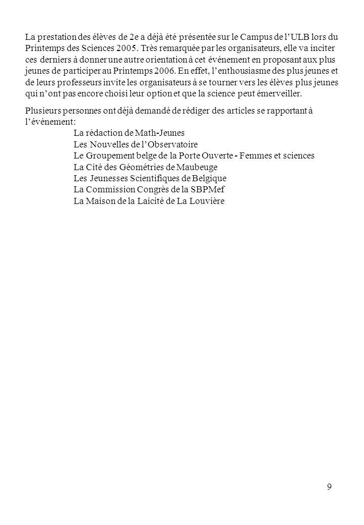 9 La prestation des élèves de 2e a déjà été présentée sur le Campus de lULB lors du Printemps des Sciences 2005.