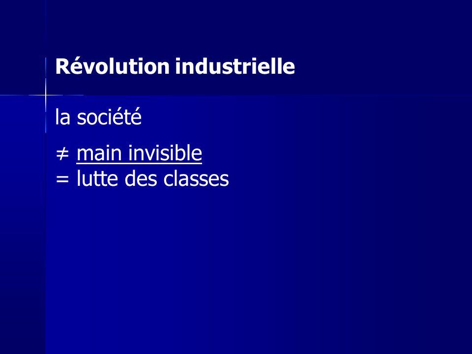 Révolution industrielle la société main invisible = lutte des classes