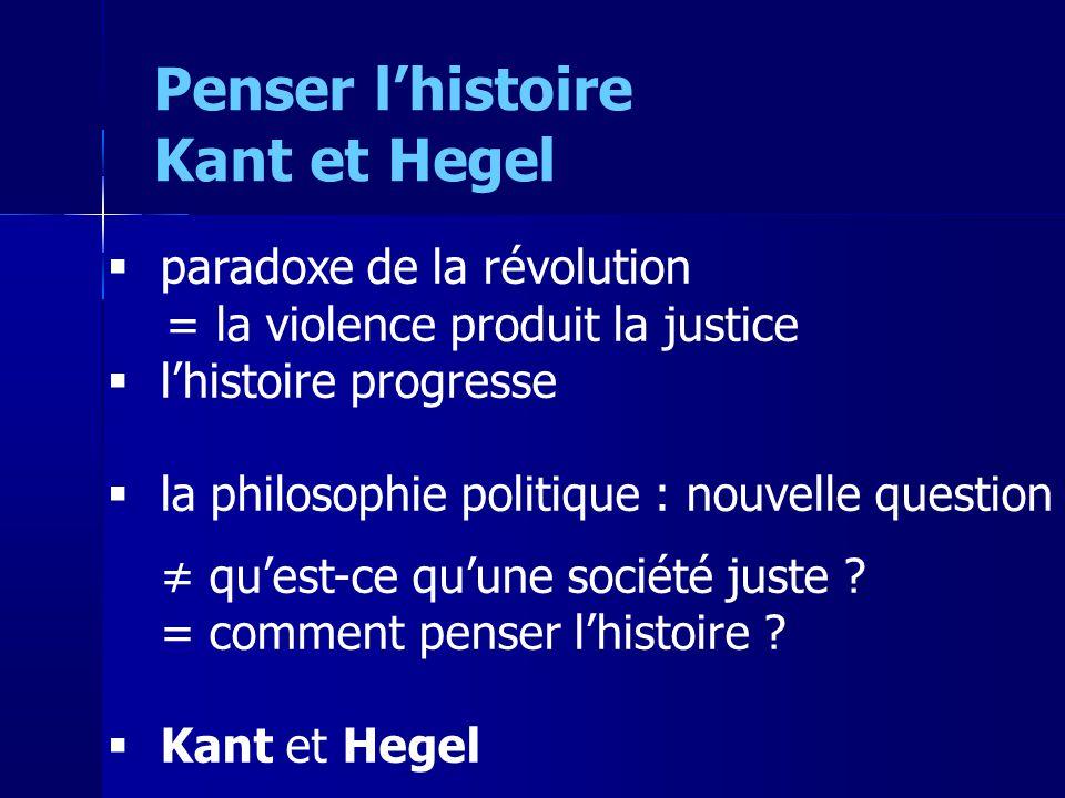 paradoxe de la révolution = la violence produit la justice lhistoire progresse la philosophie politique : nouvelle question quest-ce quune société jus