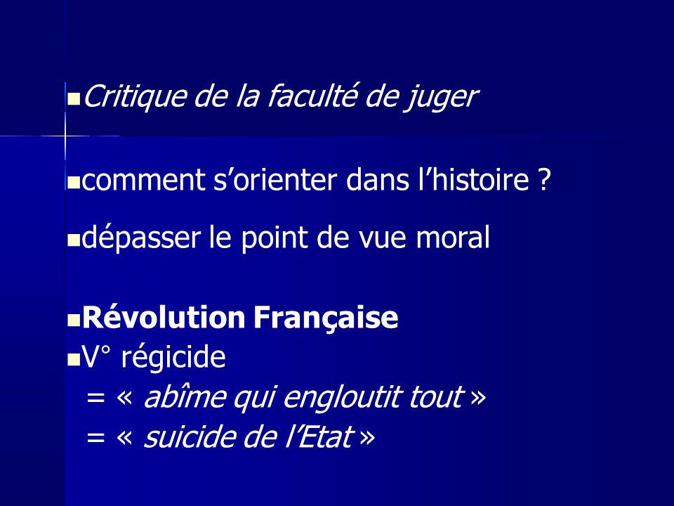 Critique de la faculté de juger comment sorienter dans lhistoire ? dépasser le point de vue moral Révolution Française V° régicide = « abîme qui englo