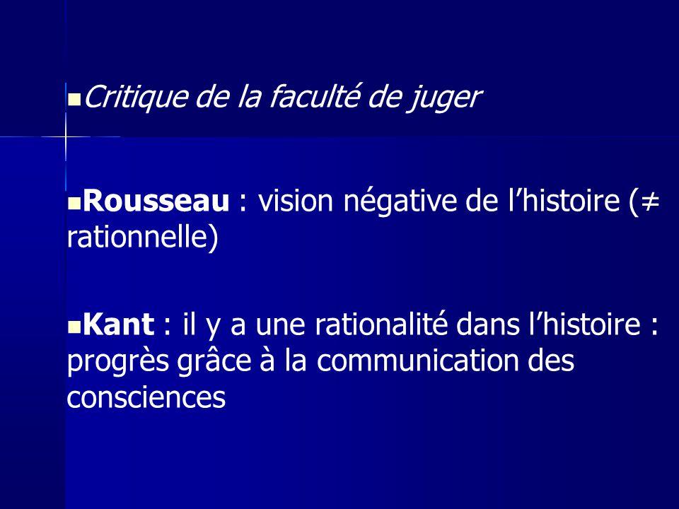 Critique de la faculté de juger Rousseau : vision négative de lhistoire ( rationnelle) Kant : il y a une rationalité dans lhistoire : progrès grâce à