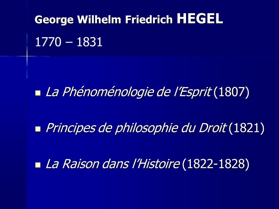 La Phénoménologie de lEsprit (1807) La Phénoménologie de lEsprit (1807) Principes de philosophie du Droit (1821) Principes de philosophie du Droit (18