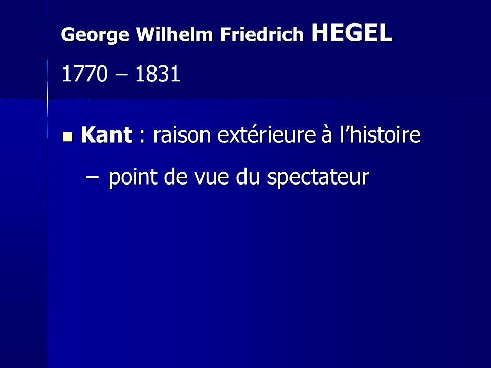 Kant : raison extérieure à lhistoire Kant : raison extérieure à lhistoire – point de vue du spectateur George Wilhelm Friedrich HEGEL 1770 – 1831