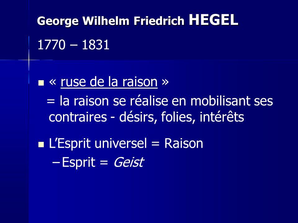 « ruse de la raison » = la raison se réalise en mobilisant ses contraires - désirs, folies, intérêts LEsprit universel = Raison –Esprit = Geist George