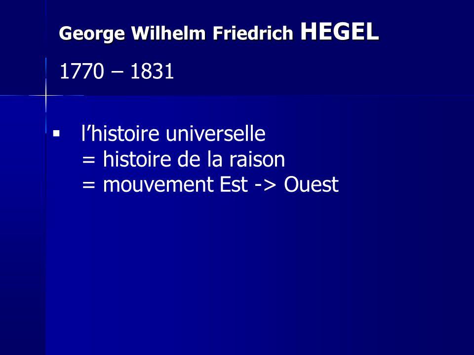 lhistoire universelle = histoire de la raison = mouvement Est -> Ouest George Wilhelm Friedrich HEGEL 1770 – 1831