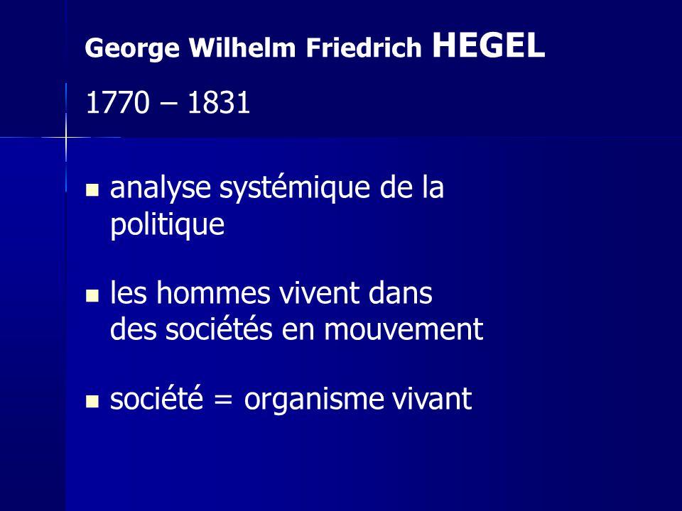 analyse systémique de la politique les hommes vivent dans des sociétés en mouvement société = organisme vivant George Wilhelm Friedrich HEGEL 1770 – 1