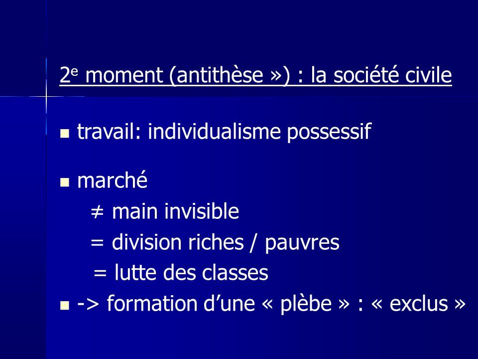 travail: individualisme possessif marché main invisible = division riches / pauvres = lutte des classes -> formation dune « plèbe » : « exclus » 2 e m