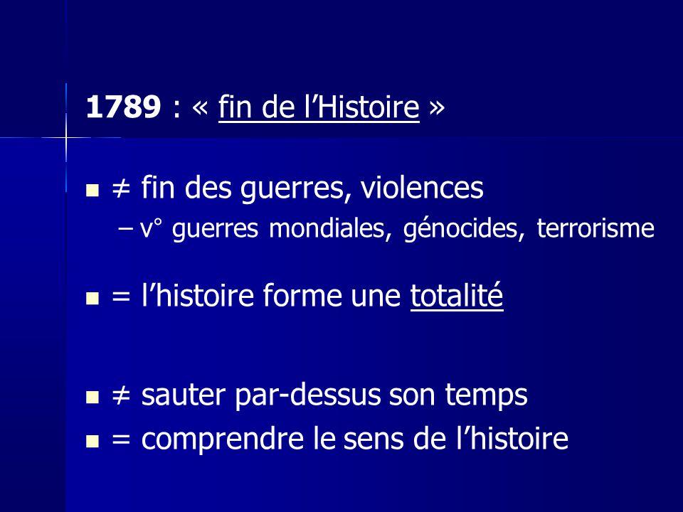 fin des guerres, violences –v° guerres mondiales, génocides, terrorisme = lhistoire forme une totalité sauter par-dessus son temps = comprendre le sen
