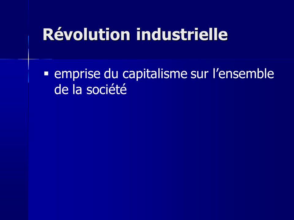 Révolution industrielle emprise du capitalisme sur lensemble de la société