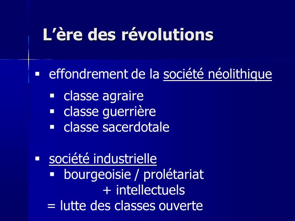 Lère des révolutions effondrement de la société néolithique classe agraire classe guerrière classe sacerdotale société industrielle bourgeoisie / prol