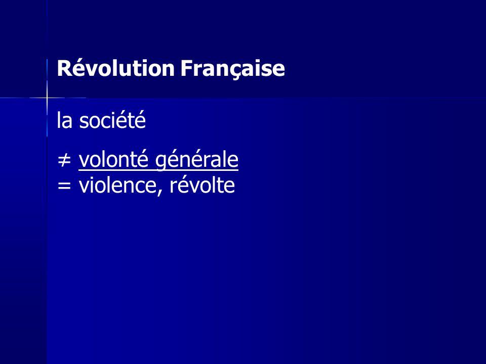Révolution Française la société volonté générale = violence, révolte