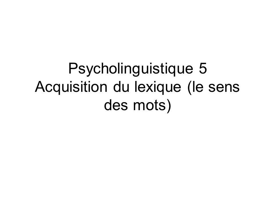 Psycholinguistique 5 Acquisition du lexique (le sens des mots)