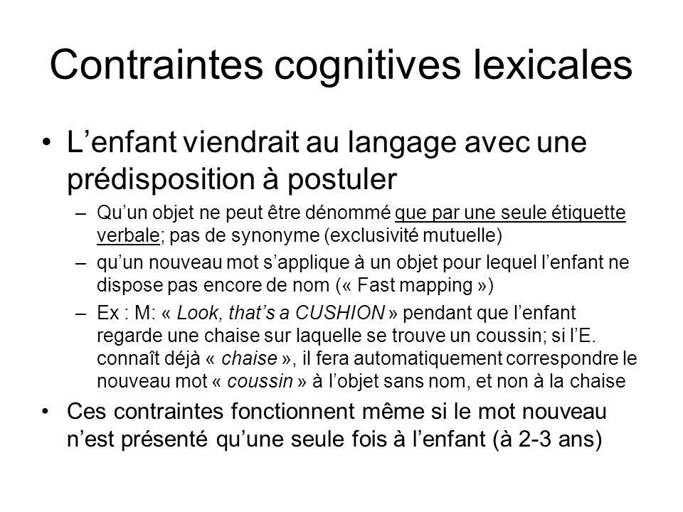 Contraintes cognitives lexicales Lenfant viendrait au langage avec une prédisposition à postuler –Quun objet ne peut être dénommé que par une seule ét