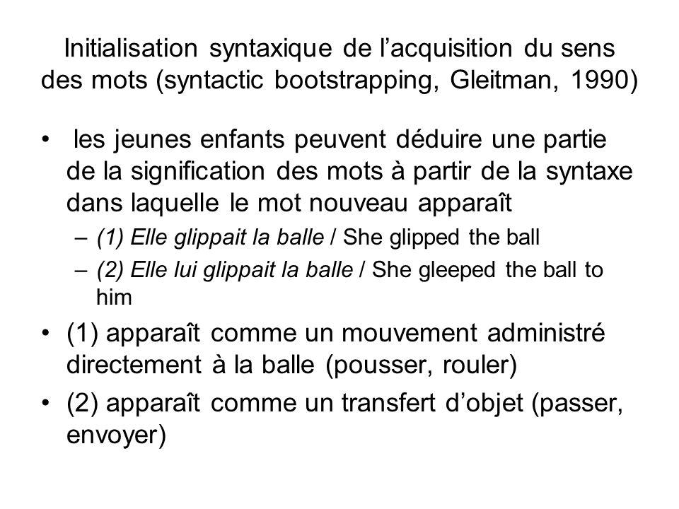 Initialisation syntaxique de lacquisition du sens des mots (syntactic bootstrapping, Gleitman, 1990) les jeunes enfants peuvent déduire une partie de