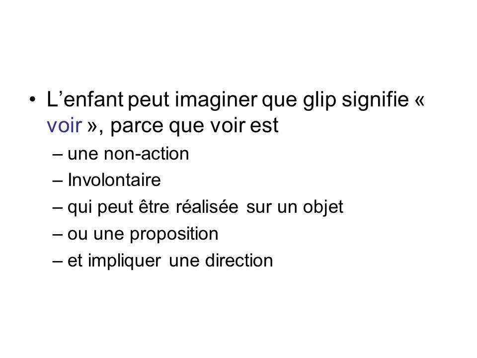 Lenfant peut imaginer que glip signifie « voir », parce que voir est –une non-action –Involontaire –qui peut être réalisée sur un objet –ou une propos