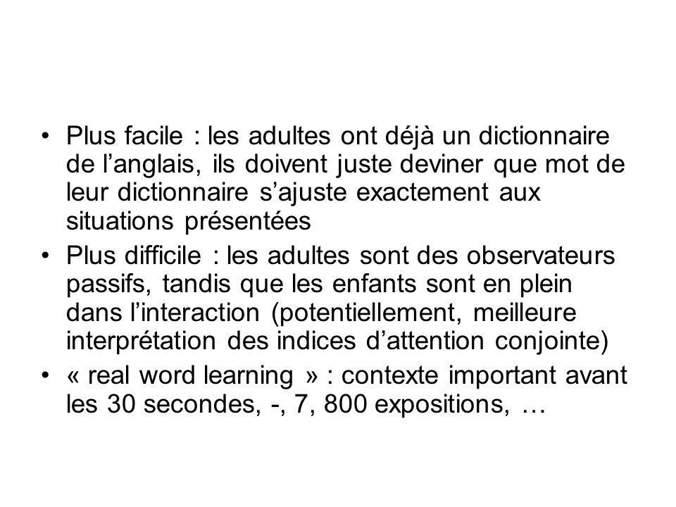 Plus facile : les adultes ont déjà un dictionnaire de langlais, ils doivent juste deviner que mot de leur dictionnaire sajuste exactement aux situatio