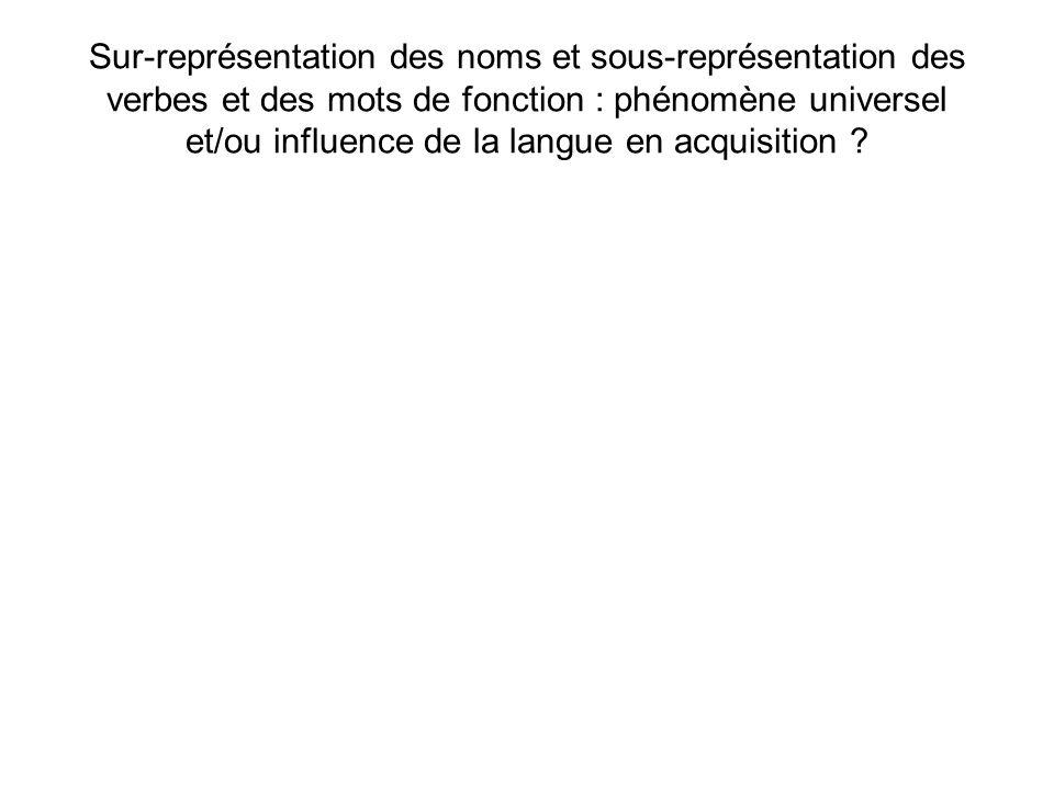 Sur-représentation des noms et sous-représentation des verbes et des mots de fonction : phénomène universel et/ou influence de la langue en acquisitio