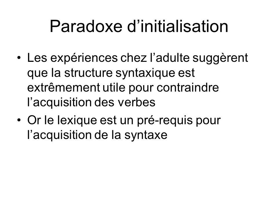 Paradoxe dinitialisation Les expériences chez ladulte suggèrent que la structure syntaxique est extrêmement utile pour contraindre lacquisition des ve