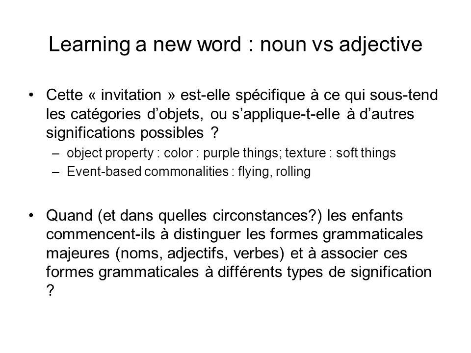 Learning a new word : noun vs adjective Cette « invitation » est-elle spécifique à ce qui sous-tend les catégories dobjets, ou sapplique-t-elle à daut