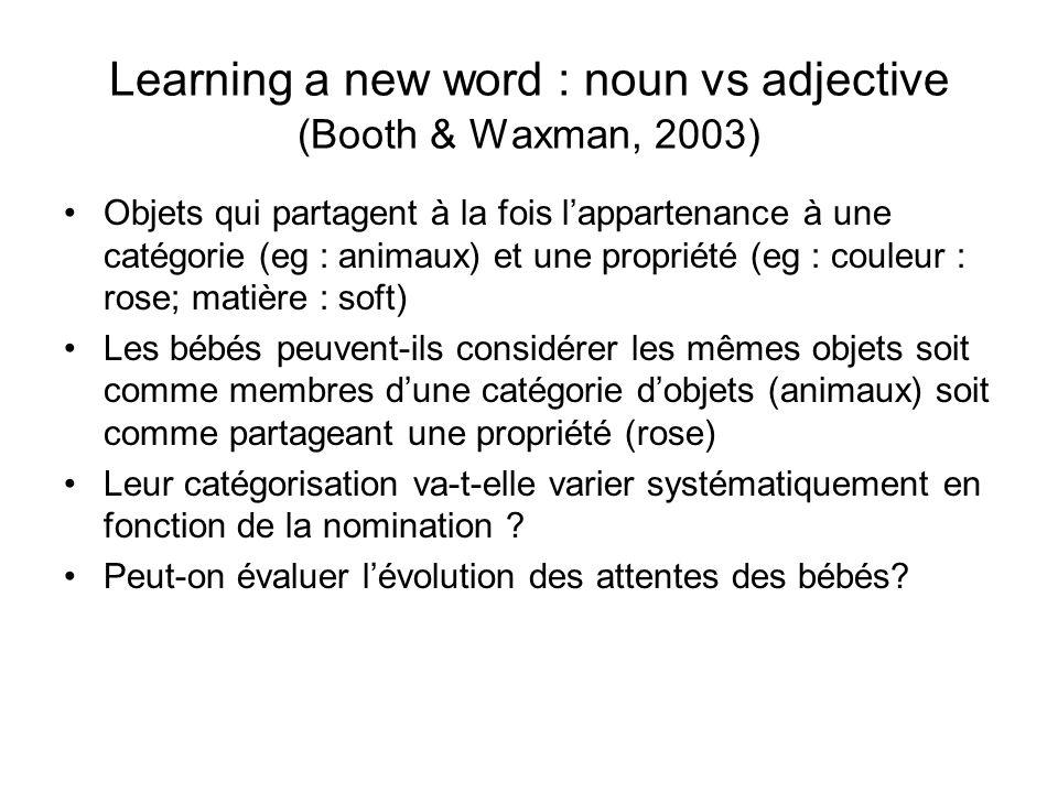 Learning a new word : noun vs adjective (Booth & Waxman, 2003) Objets qui partagent à la fois lappartenance à une catégorie (eg : animaux) et une prop