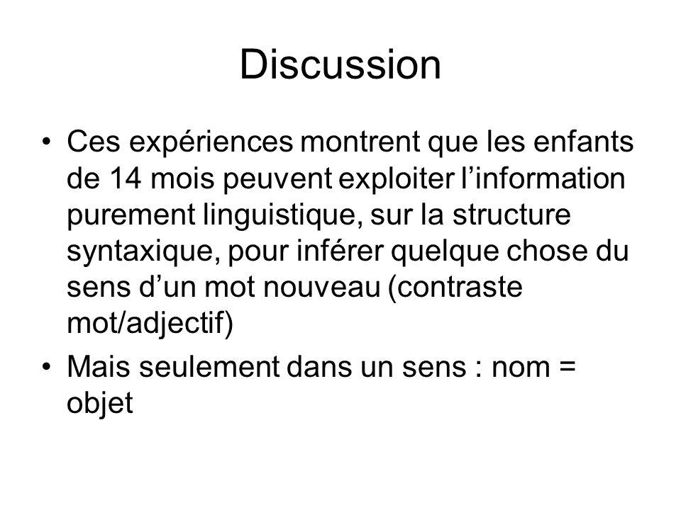 Discussion Ces expériences montrent que les enfants de 14 mois peuvent exploiter linformation purement linguistique, sur la structure syntaxique, pour