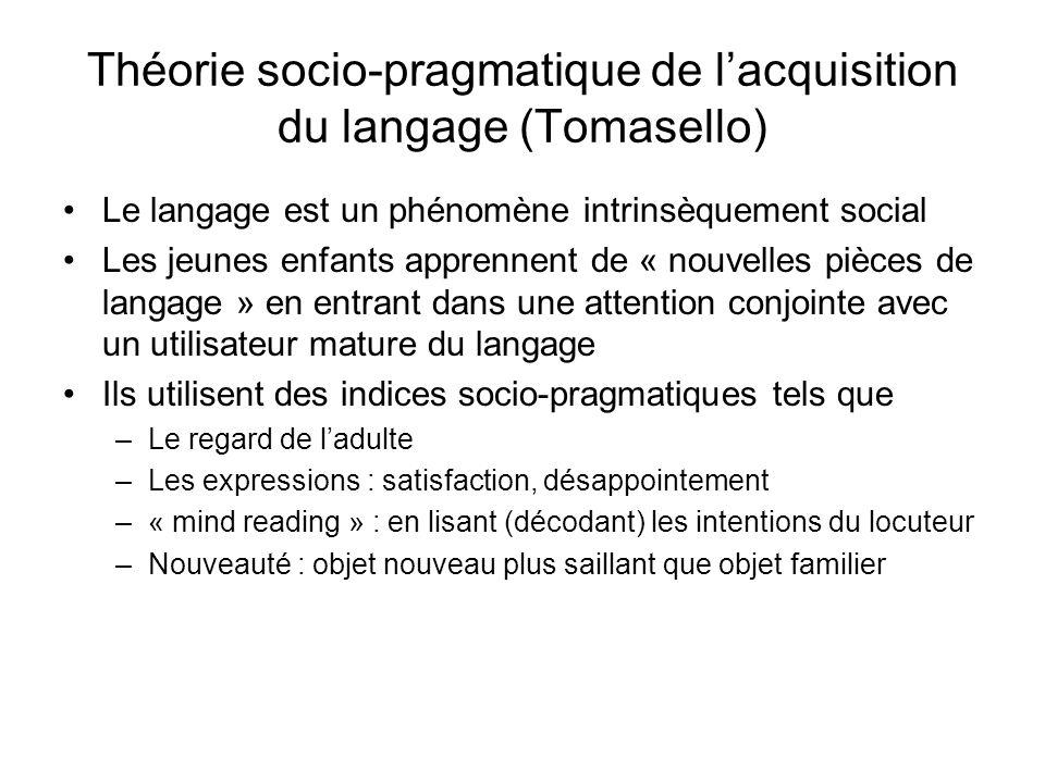 Théorie socio-pragmatique de lacquisition du langage (Tomasello) Le langage est un phénomène intrinsèquement social Les jeunes enfants apprennent de «